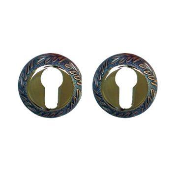 Накладка на цилиндр Casa de Bronces круг. листики (мат.медь/золото) 90 CYL MAC/GP