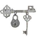 Ключ старинный подвесной декоративный (белый антик) 48413