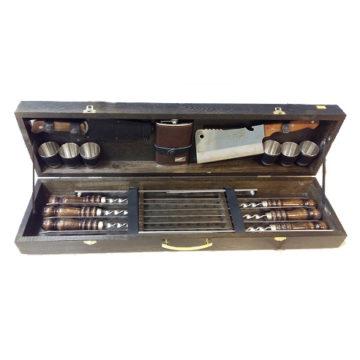 Набор шампуров в деревянной коробке большой SM-120