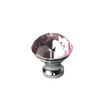 Ручка-кнопка страз КАК 30мм (розовая)